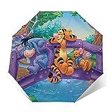 Cartoon Winnie Pooh Umbrella Automatic Open/Close Portable Tri-Fold Umbrella Waterproof Anti UV Windproof Durable Umbrellas Exquisite 3D Printed Outer Print