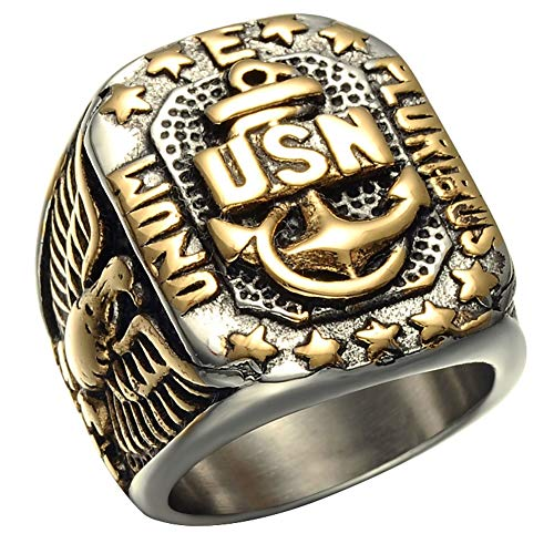 Dixinla Fashion Men's Signet Ring Eagle Anchor Empire Double Eagle USN Rings Stainless Steel Ring Jewelry Russian Big Ring Male Punk Rock Gold Color of Gift,10