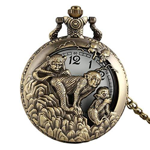 IOMLOP Reloj de bolsilloReloj de Bolsillo del Zodiaco Chino de Bronce Retro Colgante Reloj Animal Collar Hueco Cadena Arte Coleccionable Regalos conmemorativos Antiguos