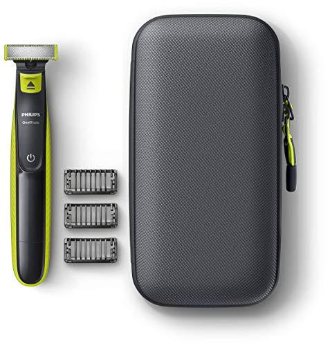 Philips QP2520/64 OneBlade    Pack de recortadora de barba con 3 peines guía, estuche de viaje, uso en seco o en húmedo, recargable