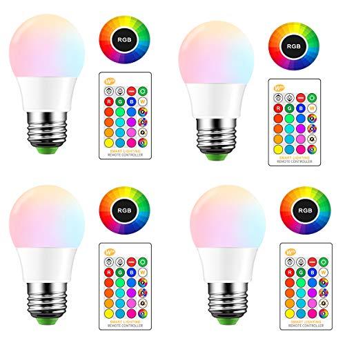 AOZBZ LED-Glühbirne mit Fernbedienung, E27 RGBW Mehrfarbenwechsel, Dimmbar mit Speicherfunktion 10W, Kaltweiß, E27 Stimmungslicht für Home Decor Stage Party