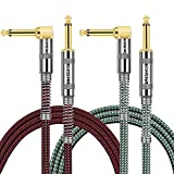 OTraki 2 Pack Instrument Cables 3FT Electric Guitar Cord 1/4 Inch Straight to Right Angle Gold Plated 6.35mm TS Plug 1M Nylon Connect Cable for Guitar Bass Drum Audio Device
