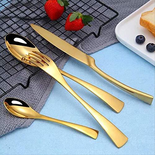 Yywl - Juego de cubiertos de acero dorado con cuchara y tenedor de acero