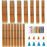 BOYATONG Juego de 75 agujas de tejer de bambú, de doble punta, con 4 pares de...
