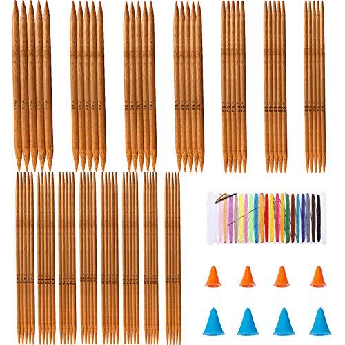 BOYATONG Juego de 75 agujas de tejer de bambú, de doble punta, con 4 pares de protectores de punta, 15 tamaños, grosor de aguja de 2 a 10 mm, para calcetines, guantes, sombreros y bufandas