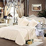 junovo Super Soft Shaggy Longfur Faux Fur Blanket, Fuzzy Throw Blanket for Bed, Fluffy Cozy Plush Light Blanket, Washable Warm Furry Throw Blanket for Couch Sofa Chair Home Decor, 60'x80' Cream White