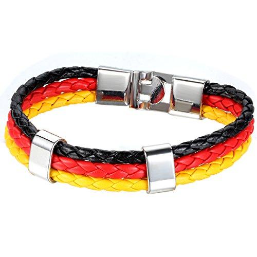 JewelryWe Schmuck Armband, Deutschland Deutsch Flagge Armreif, Leder Legierung, für Herren Damen, Gelb Rot Schwarz