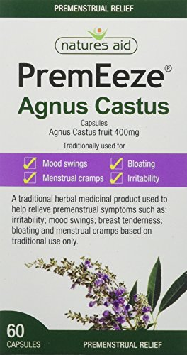 Natures Aid PremEeze Agnus Castus, Relief of Premenstrual Symptoms (PMS), Vegan, 60 Capsules