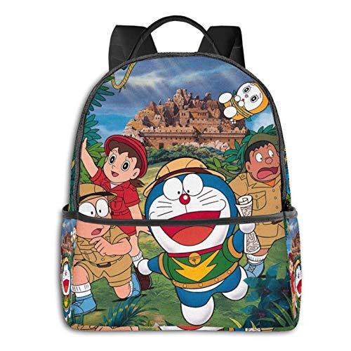 Doraemon and Nobita Bapack - Bolsa de viaje con cremallera suave, apta para colegio, escuela, mochilas informales de 14,5 x 12 x 5 pulgadas