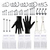 aumeo 80PCS Stainless Steel Piercing Jewelry Kit Piercing Needles Piercing Clamps Nose Ring Lip Tongue Tragus Cartilage Helix Daith Eyebrow Nipple Belly Ring Body Jewelry Piercing Tools 14G 16G 20G
