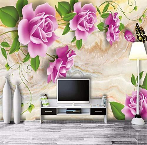 HD Rose Marmor Hintergrund Wohnzimmer TV Hintergrund Wand benutzerdefinierte großes Wandbild grüne Seide Stofftapete