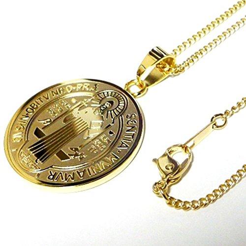 18金 18K コーティング コイン ネックレス ペンダント ステンレス メンズ レディース ゴールド ラテン語 (60)