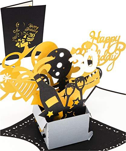 3D Geburtstagskarte - 30. Geburtstag, Geschenkpaket mit Luftballons und Sternen - Pop up Karte, Glückwunschkarte Geburtstag, Grußkarte, Geschenkkarte, Happy Birthday Card, Geburtstagskarten