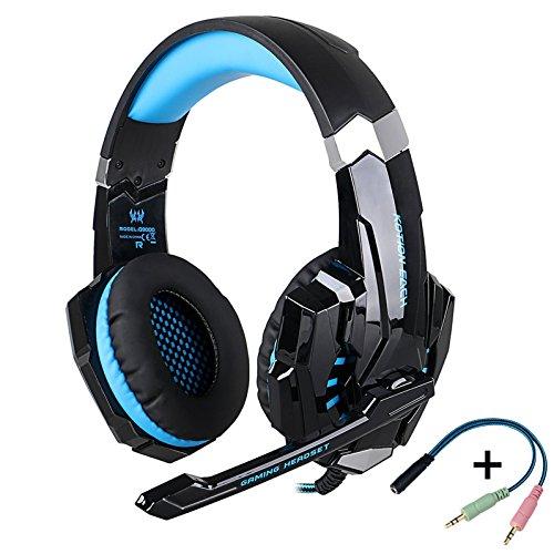 KOTION EACH G9000 hoofdtelefoon, gesloten, met microfoon, stereo, met microfoon voor PC, PS4, Mac en mobiele telefoon met LED-licht (zwart en blauw)