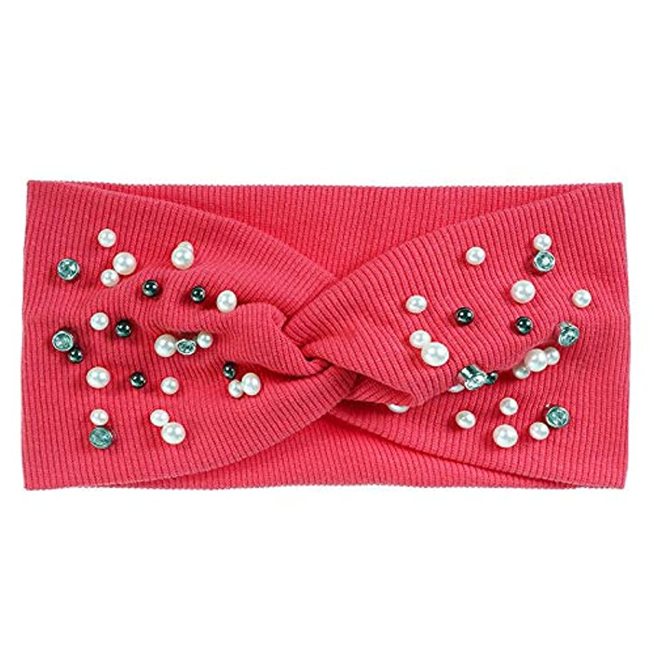 Pearl Knot Headband for Women Girls Headwear Elastic Hairband Hair Accessories (Colors - watermelon red)