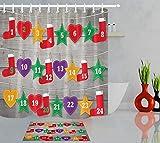 vrupi Calcetines navideños Star Fashion Cortina de Ducha Set 3D Print Revestimiento Impermeable Tela de poliéster Baño Cortina de Ducha 71x71inch Alfombra de baño 60x40cm con 12 Ganchos