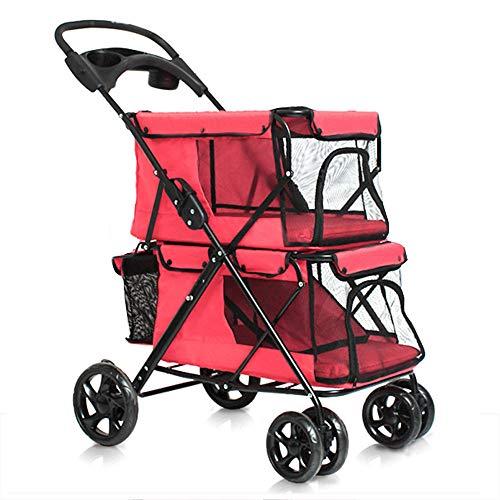 ALHJ Dubbele Huisdier Trolley, Hond Of Kat Opvouwbare Kinderwagen Ademend 4 Wielen Reistas Kinderwagen Voor Medium Honden