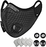 coher Reusable Dust Face Mask with 4 Filters - Personal Protective Adjustable for Running, Training, Workout, Outdoor Activities (Black 4 Activated Carbon Filters +2 Breathing Valves)