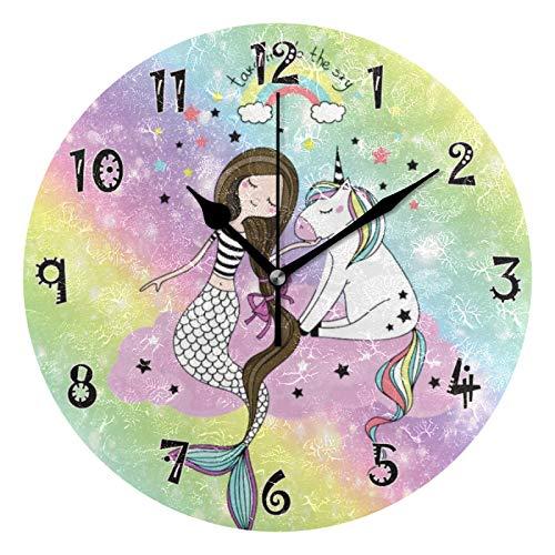 JUMBEAR - Reloj de pared con diseño de sirena y unicornio, multicolor con cielo estrellado y silencioso, funciona con pilas, con números árabes precisos, decoración para el hogar para cocina Livi