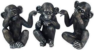 CAPRILO Set de 3 Figuras Decorativas Orangutanes de Resina NO VE-OYE-Habla. Adornos y Esculturas. Animales. Decoración Hog...
