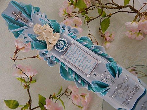 Geschnitzte Taufkerze Kommunionkerze türkis für Jungen Mädchen mit Schutzengel und Taufspruch inkl. Name und Datum 26 cm