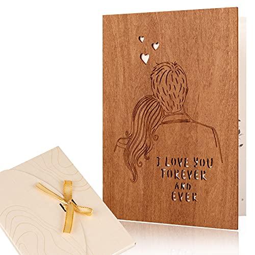 Creawoo Tarjeta de felicitación de amor hecha a mano, Te amo para siempre y siempre Aniversario, Aniversario, Boda, Citas, Tarjeta de regalo del día de San Valentín para Ella Esposa Esposo