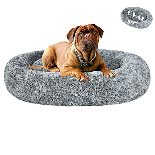 Coohom Oval Calming Donut Cuddler Dog Bed,Shag Faux Fur Cat Bed Washable Round Pillow Pet Bed(30'/36') for Small Medium Dogs (L(30'x24'x7'), Grey)