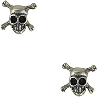 Sterling Silver Little Pirates Jolly Roger Skull And Crossbones Post Stud Earrings