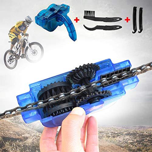 JTENG Fahrrad Kettenreinigungsgerät, Fahrrad Kettenreiniger Reinigung Scrubber Pinsel-Werkzeug im Set mit Ritzelbürste und hebeln Reifenstangen Schnelles Sauberes Werkzeug für Alle Arten