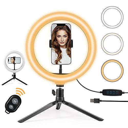 "OneAmg Anillo de Luz LED Fotografia de Escritorio, 10"" Aro de Luz 3 Colores 10 Brillos Regulables Control Remoto Bluetooth, Trípode con Soporte Giratorio de teléfono para Maquillaje, Fotografia etc."