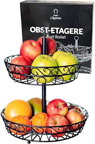 Chefarone Obst Etagere 30 cm - Obstschale Metall für mehr Platz auf der Arbeitsplatte - Etageren mit Obstschalen - dekorativer Obstkorb (schwarz)