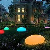 RGB Solar Gartenleuchten Solarlampe LED Solarleuchten mit einem längsten Innendurchmesser von 33 cm, 16 verstellbarer Farben, Wasserdicht IP54 Solarlampe Kieselstein Form für Garten, Hof