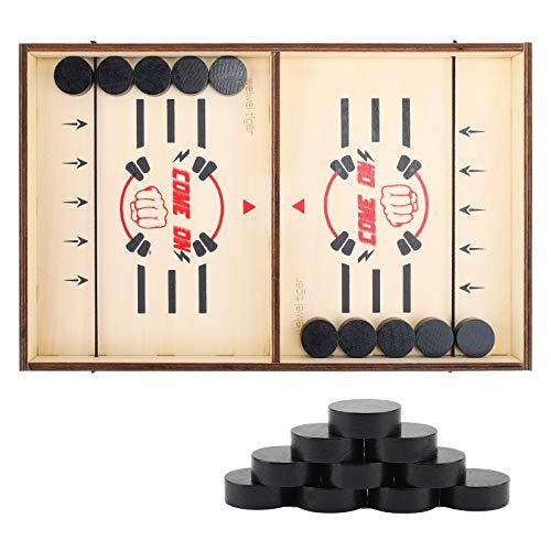 colmanda Brettspiel Hockey Katapult Brettspiel Wooden Hockey Game Table Brettspiel Fast Sling Puck Game Spiel Holz Katapult Schach, Bouncing Brettspiel, Kind Interaktives Spielzeug-Partyspiel (1)