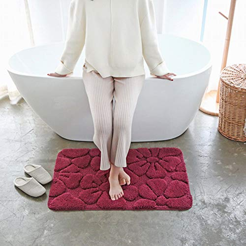 Chaseyoung 3D Carved Bathroom Rug 36'x24' Burgundy Flower Water Absorbent, Ultra Soft Shower Bath Mats for Bathroom Non-Slip Machine Washable for Doorway/Kitchen/Bathroom/Laundry Room/Bedroom