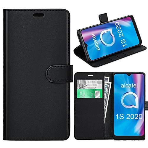 Alcatel 1S 2020 Hülle, Alcatel 1S 2020 Lederhülle, Alcatel 1S 2020 Book Flip Leder Wallet Cover mit Kartenschlitzen für Alcatel 1S 2020 [kompatibel mit Alcatel 1S 2020 Displayschutzfolie] (schwarz)