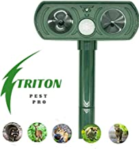 Triton Pest Pro Outdoor Solar Powered Animal Repeller - Ultrasonic Pest Repellent for Garden Yard - Waterproof Motion Sensor Deters Moles Rats Snakes Cats Dogs Squirrels Skunks, Raccoons, Deer, Rabbit