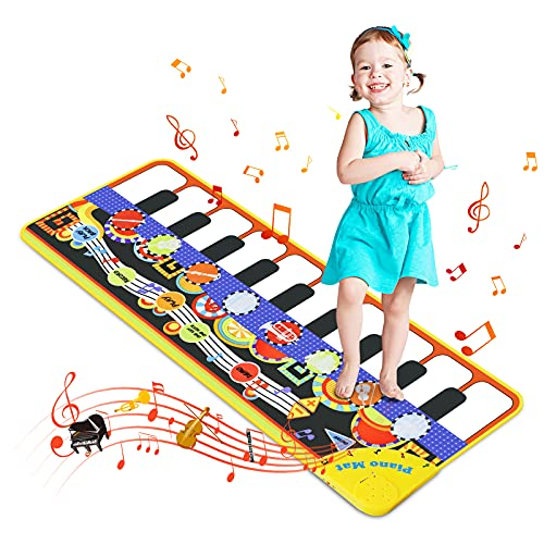 Magicfun Piano Mat for Baby, 19 Keys Musical Play Mat, Portable Music Carpet Toy with 8 Instrument Sounds,10 Demos and Recording Function, Touch Play Mat Gift for Kids 1 2 3 4 Years Old(110 * 36cm)