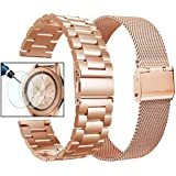 Valkit Compatible Galaxy Watch 42mm Band Rose Gold Women, 2 Pack 20mm Stainless Steel Solid Wrist Bands Business Bracelet Metal Strap Replacement for Galaxy Watch 42mm/Galaxy Watch Active/Active2