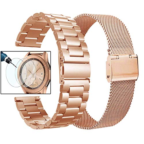 Valkit Compatible Galaxy Watch 42mm/Galaxy Watch 3 41mm Band Rose Gold Women, 2 Pack 20mm Stainless Steel Solid Wrist Bands Metal Bracelet Strap for Galaxy Watch 42mm/Galaxy Watch 3 41mm/Active 2