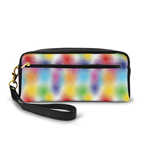 Pencil Case Pen Bag Pouch Stationary,Colorful Dots with Halftone Effect Illusion of The Gradient Dynamic Fantasy Artistic,Small Makeup Bag Coin Purse