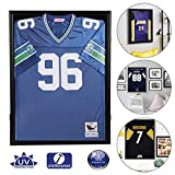 Snail Jersey Frame Display Case Large Lockable Frames Shadow Box with UV Protection Acrylic for Baseball Basketball Football Soccer Hockey Sport Shirt, Hanger and Wall Mount Option, Black Finish