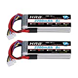 HRB 2pcs 11.1V 2200mAh 8C 3S Li-Po Batterie 3 Connecteur pour JR Futaba Walkera Émetteur RadioLink