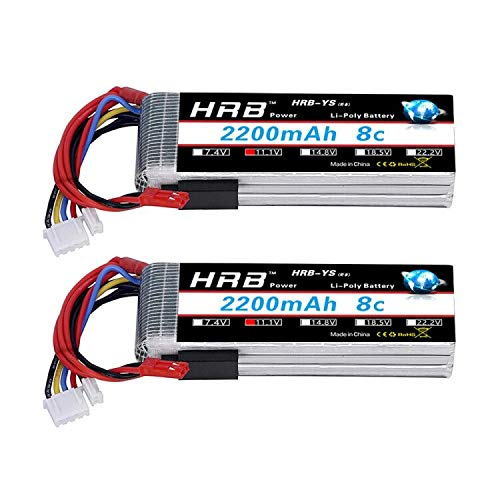 HRB 2packs 2200mAh 11.1V 3S 8C LiPo Battery Pack for 3 Connector for JR Futaba Walkera RadioLink Transmitter