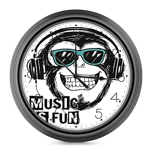 DYCBNESS orologio da parete Musica Cool Monkey Slogan Rock Boy Graphic Gorilla Cuffie Silenzioso senza ticchettio,con numeri arabi a batteria,decorativo Orologio da Muro per interni Diametro 24.4cm