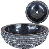 vidaXL Lavavo Redondo con Diseño Elegante de Mármol Negro Piedra Natural 40 cm Lavamos Aseo