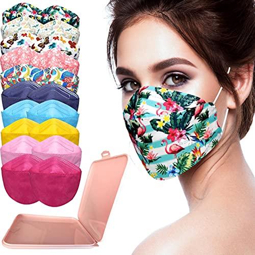 MVT - 10x/20x Mascarilla Protectora FFP2 NR Adulto 5 capas Colores Variados (forma de Pez) + Mask Case color aleatorio