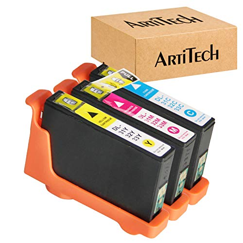 ARTITECH Replace for Dell Series 31 32 33 34 Color Ink cartridges Work for Dell V525W, V725W Printers All-in-One Printer, 3 Pack for Dell Ink Cartridge Series 31 (1 Cyan, 1 Magenta, 1 Yellow)