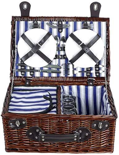 Outdoor-Camping Picknicktasche, Outdoor Tragbare Luxus 4 Personen Wicker Picknickkorb, Isolierung Gewebten Korb Mit Deckel Camping Traditionelle Picknickkörbe-blue