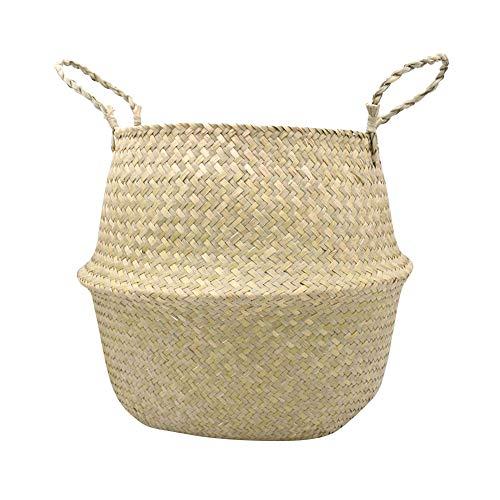 Okssud Korb aus Gewebtem Seegras, Stroh gewebte Wäschekorb Faltbare Seegras Gewebter Pompon-Korb mit Handgriff für Wäsche, Spielzeug oder Pflanzgefäße, Kinderzimmer