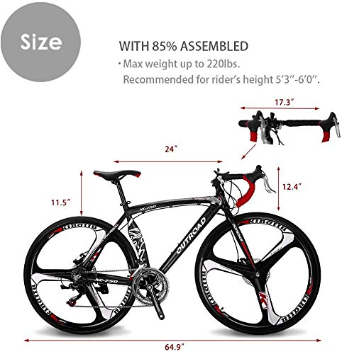 Max4out Road Bike for Men and Women with Aluminum Alloy Frame, Featuring 14 Speed Shimano Shifter, 700C Wheel and Disc Brake Bicycles, Black